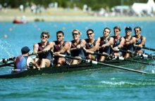 18 Sep 2000: The US team in the mens eight during the Sydney 2000 Olympic Games at the Sydney International Regatta Centre, Sydney, Australia.  Mandatory Credit: Adam Pretty/ALLSPORT